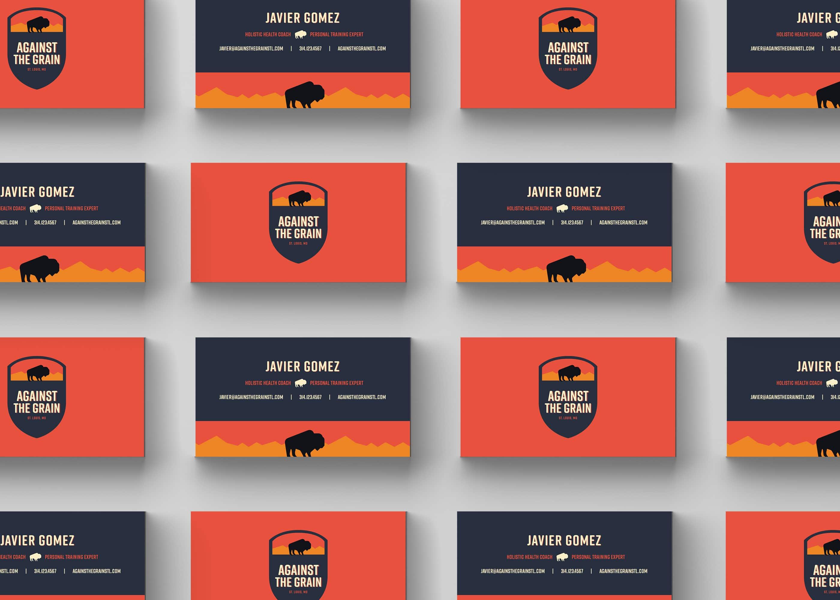 fitness blue and orange buffalo business card designs